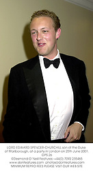 LORD EDWARD SPENCER-CHURCHILL son of the Duke of Marlborough, at a party in London on 25th June 2001.	OPS 26