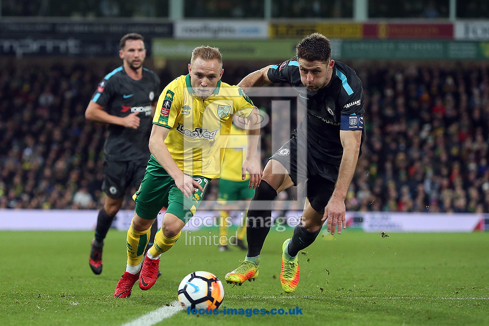 Alex Pritchard of Norwich and Gary Cahill of Chelsea in action during the FA Cup match at Carrow Road, Norwich<br /> Picture by Paul Chesterton/Focus Images Ltd +44 7904 640267<br /> 06/01/2018