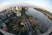 Downtown Saigon. Me Linh Square and Saigon River, seen from Renaissance Riverside Hotel.