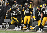15 NOVEMBER 2008: Iowa running back Shonn Greene (23) runs down field for a 75 yard touchdown in the first half of an NCAA college football game against Purdue, at Kinnick Stadium in Iowa City, Iowa on Saturday Nov. 15, 2008. Iowa beat Purdue 22-17.