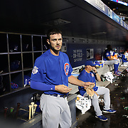 NEW YORK, NEW YORK - July 01: Kris Bryant #17 of the Chicago Cubs removes his gloves on his return to the dugout after hitting a solo home run during the Chicago Cubs Vs New York Mets regular season MLB game at Citi Field on July 01, 2016 in New York City. (Photo by Tim Clayton/Corbis via Getty Images)