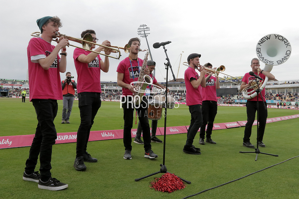 The New York Brass Band entertains the crowed before the final of the Vitality T20 Finals Day 2018 match between Worcestershire rapids and Sussex Sharks at Edgbaston, Birmingham, United Kingdom on 15 September 2018.