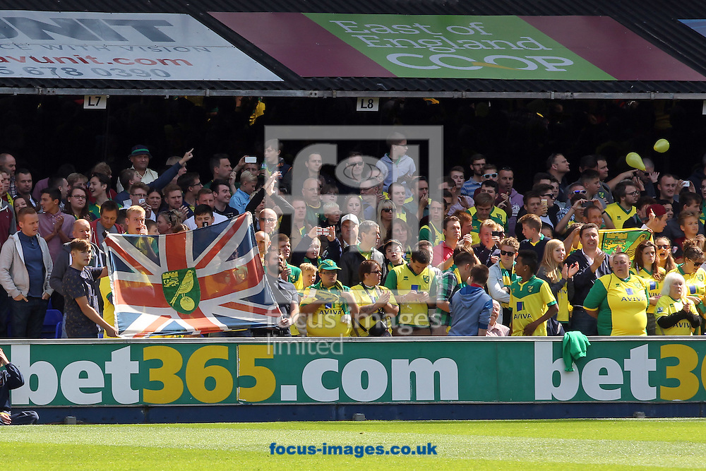The Norwich fans before the Sky Bet Championship match at Portman Road, Ipswich<br /> Picture by Paul Chesterton/Focus Images Ltd +44 7904 640267<br /> 23/08/2014