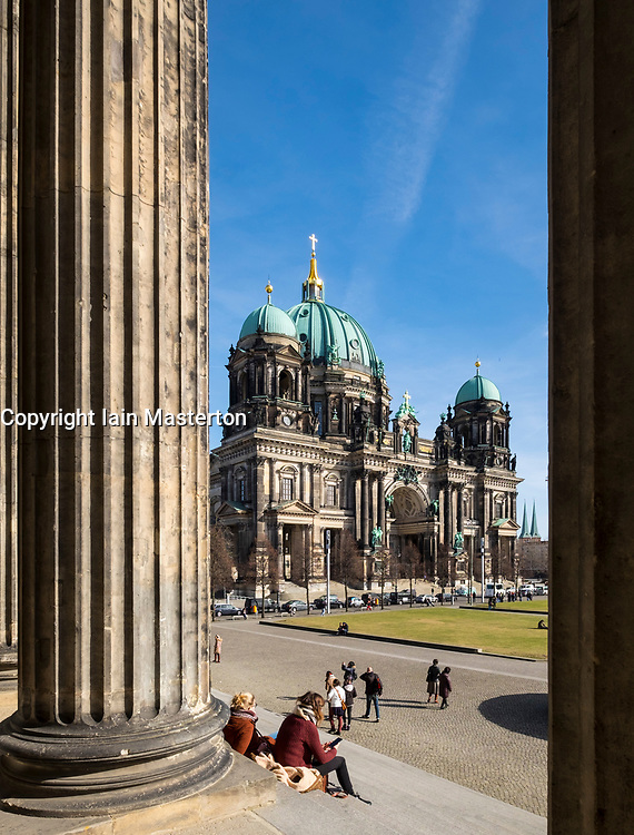 View of Berlin Cathedral (Berliner Dom) from Altes Museum, in Lustgarten Park on Museumsinsel in Mitte Berlin, Germany