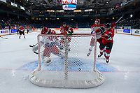 KAMLOOPS, CANADA - NOVEMBER 5: Dylan Cozens #25 of Team WHL scores a first period goal on Daniil Tarasov, #30 of Team Russia  on November 5, 2018 at Sandman Centre in Kamloops, British Columbia, Canada.  (Photo by Marissa Baecker/Shoot the Breeze)