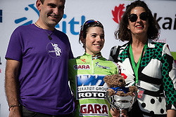 Ane Santesteban Gonzalez (ESP) of WNT Rotor Pro Cycling celebrates getting the best Basque rider's light green jersey after Stage 1 of 2019 Emakumeen Bira, a 101 km road race starting and finishing in Iurreta, Spain on May 22, 2019. Photo by Balint Hamvas/velofocus.com