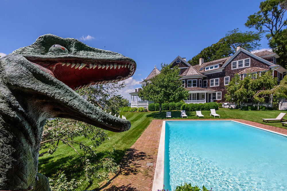 Dinosaur by swimming pool, Nostrand parkway, Shelter Island, NY