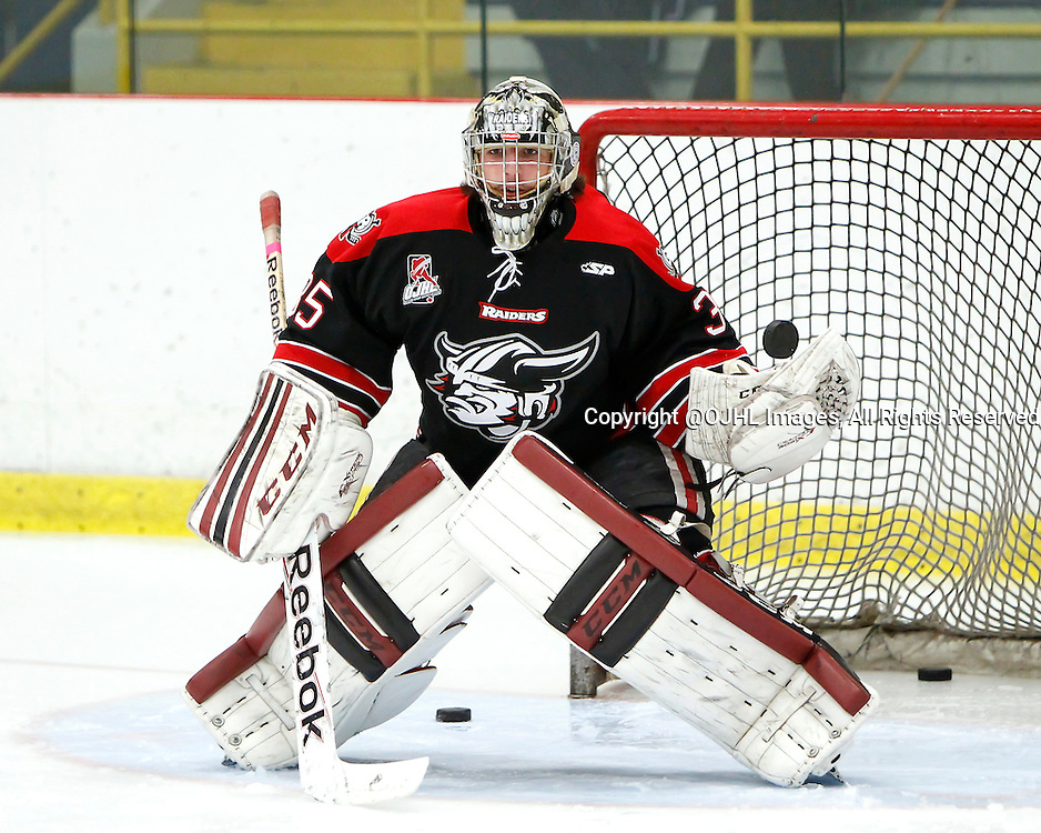 GEORGETOWN, ON - Oct 10, 2015 : Ontario Junior Hockey League game action between Buffalo and Georgetown, Billy Day #35 makes the save during the pre-game warm-up.<br /> (Photo by Brian Watts / OJHL Images)