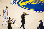 Golden State Warriors forward Draymond Green (23) reacts to a foul called on him during Game 1 of the NBA Finals against the Golden State Warriors at Oracle Arena in Oakland, Calif., on May 31, 2018. (Stan Olszewski/Special to S.F. Examiner)