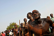 After decades of conflict, Southern Sudan declared independence from the North on July 9th, 2011. People came to the John Garang Memorial in the capital from all over the country, many in traditional dress to sing, dance, play music and celebrate the historic occation..Juba, South Sudan. 09/07/2011..Photo © J.B. Russell