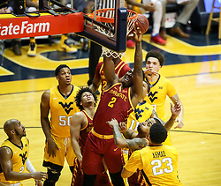 Feb 24, 2018; Morgantown, WV, USA; Iowa State Cyclones forward Cameron Lard (2) shoots in the lane during the first half against the West Virginia Mountaineers at WVU Coliseum. Mandatory Credit: Ben Queen-USA TODAY Sports