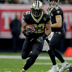 Nov 22, 2018; New Orleans, LA, USA; New Orleans Saints running back Mark Ingram II (22) runs against the Atlanta Falcons during the second quarter at the Mercedes-Benz Superdome. Mandatory Credit: Derick E. Hingle-USA TODAY Sports
