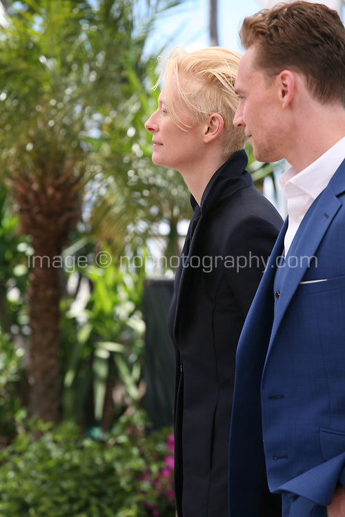 Actress Tilda Swinton and Actor Tom Hiddleston at Only Lovers Left Alive Photocall Cannes Film Festival On Saturday 26th May May 2013