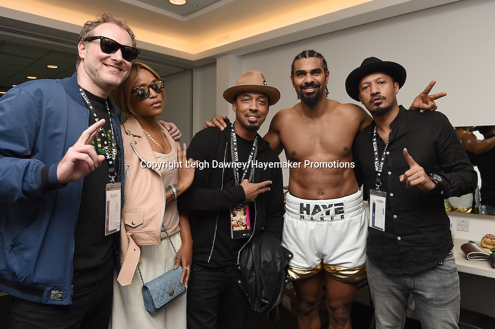 David Haye celebrates backstage with guests after defeating Arnold Gjergjaj in a heavyweight contest at the 02 Arena, London on the 21st May 2016. Photo credit: Leigh Dawney/Hayemaker Promotions