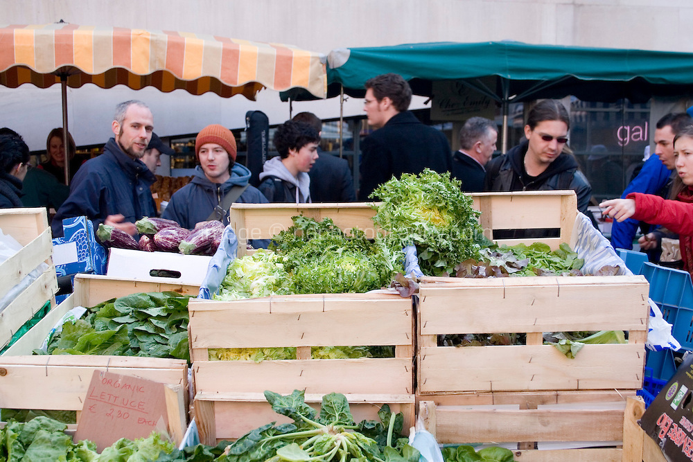 Organic Vegetables for sale at the Temple Bar food market in Dublin Ireland