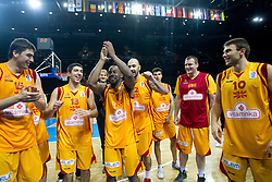 Predrag Samardziski of Macedonia, Ivica Dimcevski of Macedonia, Bo McCalebb of Macedonia, Pero Antic of Macedonia, Gjorgij Chekovski of Macedonia and Marko Simonovski of Macedonia celebrate after the basketball game between National basketball teams of F.Y.R. of Macedonia and Lithuania at Quarterfinals of FIBA Europe Eurobasket Lithuania 2011, on September 14, 2011, in Arena Zalgirio, Kaunas, Lithuania. Macedonia defeated Lithuania 67-65. (Photo by Vid Ponikvar / Sportida)