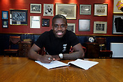 17/05/2017 - Dundee new boy Elton Ngwatala pictured signing at Dens Park, Dundee, Picture by David Young -