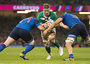 Cardiff, Wales, Great Britain, Ireland's Jamie HEASLIP, crashing through with the ball, during the Pool D game, France vs Ireland.  2015 Rugby World Cup,  Venue, Millennium Stadium, Cardiff. Wales   Sunday  11/10/2015.   [Mandatory Credit; Peter Spurrier/Intersport-images]