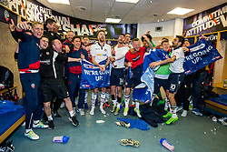 Free to use courtesy of Sky Bet - Bolton Wanderers celebrate in the dressing room after finishing the season as Sky Bet League One runners up to secure automatic Promotion to the 2017/18 Sky Bet Championship - Rogan Thomson/JMP - 30/04/2017 - FOOTBALL - Macron Stadium - Bolton, England - Bolton Wanderers v Peterborough United - EFL Sky Bet League One.