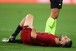 October 14, 2017 - Rome, Italy - Kostas Manolas of Roma injured during the Italian Serie A football match AS Roma vs Napoli at the Olympic Stadium in Rome, on October 14, 2017. (Credit Image: © Matteo Ciambelli/NurPhoto via ZUMA Press)