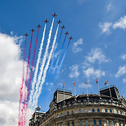 Red Arrows, Queen's 93rd birthday flypast 2019, on 8 June 2019, Trafalgar Square, London, UK