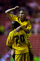 Photo: Jed Wee.<br /> Middlesbrough v Notts County. Carling Cup. 20/09/2006.<br /> <br /> Notts County's Ian Ross celebrates on the shoulders of Junior Mendes.
