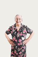 ACCIAROLI, ITALY - 14 SEPTEMBER 2018: Anna Vassallo (91) poses for a portrait in her home in Acciaroli, a small fishing village in the municipality of Pollica, Italy, on September 14th 2018.<br /> <br /> To understand how people can live longer throughout the world, researchers at University of California, San Diego School of Medicine have teamed up with colleagues at University of Rome La Sapienza to study a group of 300 citizens, all over 100 years old, living in Acciaroli (Pollica), a remote Italian village nestled between the ocean and mountains in Cilento, southern Italy.<br /> <br /> About 1-in-60 of the area's inhabitants are older than 90, according to the researchers. Such a concentration rivals that of other so-called blue zones, like Sardinia and Okinawa, which have unusually large percentages of very old people. In the 2010 census, about 1-in-163 Americans were 90 or older.