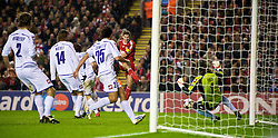 LIVERPOOL, ENGLAND - Wednesday, December 9, 2009: Liverpool's captain Steven Gerrard MBE shoots narrowly wide against AFC Fiorentina during the UEFA Champions League Group E match at Anfield. (Photo by David Rawcliffe/Propaganda)