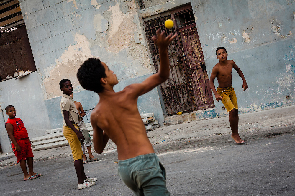 Children play handball in Havana, Cuba