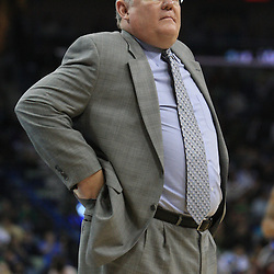 28 January 2009: Denver Nuggets coach George  Karl watches his team during a 94-81 win by the New Orleans Hornets over the Denver Nuggets at the New Orleans Arena in New Orleans, LA. The Hornets wore special throwback uniforms of the former ABA franchise the New Orleans Buccaneers for the game as they honored the Bucs franchise as a part of the NBA's Hardwood Classics series. .
