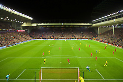 LIVERPOOL, ENGLAND - Thursday, April 14, 2016: Liverpool's xxxx in action against Borussia Dortmund during the UEFA Europa League Quarter-Final 2nd Leg match at Anfield. (Pic by David Rawcliffe/Propaganda)