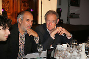 Alan Yentob and Simon Schama,  ICA 60: PECHA KUCHA. Fundraiser for the Institute of Contemporary Arts. Florence Hall, RIBA, 66 Portland Place, London. 17 May 2007. -DO NOT ARCHIVE-© Copyright Photograph by Dafydd Jones. 248 Clapham Rd. London SW9 0PZ. Tel 0207 820 0771. www.dafjones.com.