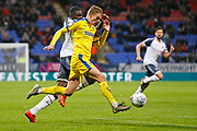 Marcus Forss of Wimbledon  during the EFL Sky Bet League 1 match between Bolton Wanderers and AFC Wimbledon at the University of  Bolton Stadium, Bolton, England on 7 December 2019.