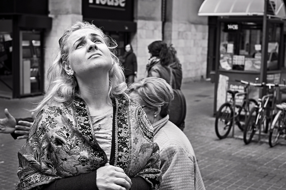 Woman looking up, Gracia district, Barcelona