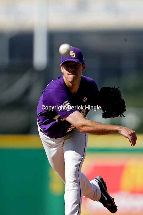 06 June 2009:  LSU pitcher, Louis Coleman (29) throws between innings during a 5-3 victory by the LSU Tigers over the Rice Owls in game two of the NCAA baseball College World Series, Super Regional played at Alex Box Stadium in Baton Rouge, Louisiana. The Tigers with the win advance to next week's College Baseball World Series in Omaha, Nebraska.