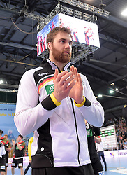 11.03.2016, Leipzig, GER, Handball Länderspiel, Deutschland vs Katar, Herren, im Bild Andreas Wolff (GER #33) unter dem Videowürfel // during the men's Handball international Friendlies between Germany and Qatar in Leipzig, Germany on 2016/03/11. EXPA Pictures © 2016, PhotoCredit: EXPA/ Eibner-Pressefoto/ Modla<br /> <br /> *****ATTENTION - OUT of GER*****