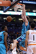 Jan 6, 2016; Phoenix, AZ, USA; Charlotte Hornets center Cody Zeller (40) dunks the ball against the Phoenix Suns in the second half at Talking Stick Resort Arena. The Phoenix Suns defeated the Charlotte Hornets 111-102. Mandatory Credit: Jennifer Stewart-USA TODAY Sports