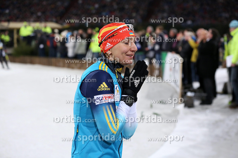 28.12.2013, Veltins Arena, Gelsenkirchen, GER, IBU Biathlon, Biathlon World Team Challenge 2013, im Bild Olena Pydrushna (Ukraine) zittert, betet auf der letzten Runde // during the IBU Biathlon World Team Challenge 2013 at the Veltins Arena in Gelsenkirchen, Germany on 2013/12/28. EXPA Pictures &copy; 2013, PhotoCredit: EXPA/ Eibner-Pressefoto/ Schueler<br /> <br /> *****ATTENTION - OUT of GER*****