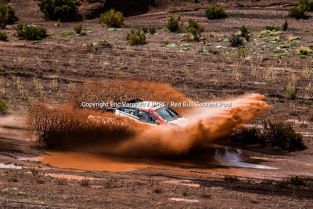 Giniel de Villiers and Dirk von Zitzewitz in the Toyota Hilux of the Toyota Gazoo Racing crossing the river during stage 7 of the Dakar Rally, between La Paz and Uyuni, Bolivia, on January 13, 2018. // Eric Vargiolu / DPPI / Red Bull Content Pool // P-20180114-00045 // Usage for editorial use only // Please go to www.redbullcontentpool.com for further information. //