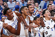 INDIANAPOLIS, IN - NOVEMBER 18: Kentucky Wildcats players enjoy the final seconds of their 72-40 win over the Kansas Jayhawks during the Champions Classic basketball event at Bankers Life Fieldhouse on November 18, 2014 in Indianapolis, Indiana. (Photo by Joe Robbins)