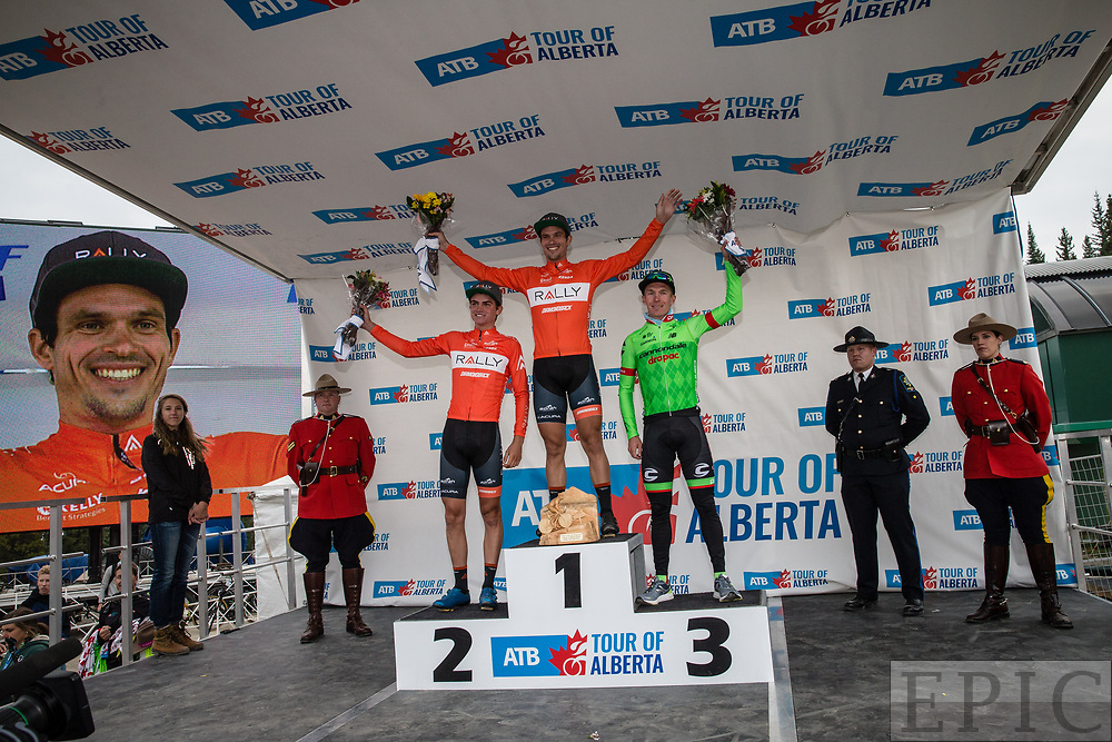 JASPER, ALBERTA, CAN - September 1: Evan Huffman (Rally Cycling) in first place, Sepp Kuss (Rally Cycling) in second and Tom-Jelte Slagter (Cannondale-Drapac) in third place on stage 1 of the Tour of Alberta on September 1, 2017 in Jasper, Canada. (Photo by Jonathan Devich)