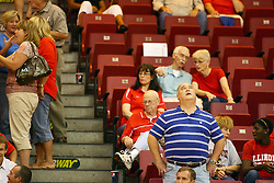 30 August 2011:  during an NCAA volleyball match between the Cougars of Southern Illinois Edwardsville and the Illinois State Redbirds at Redbird Arena in Normal Illinois.