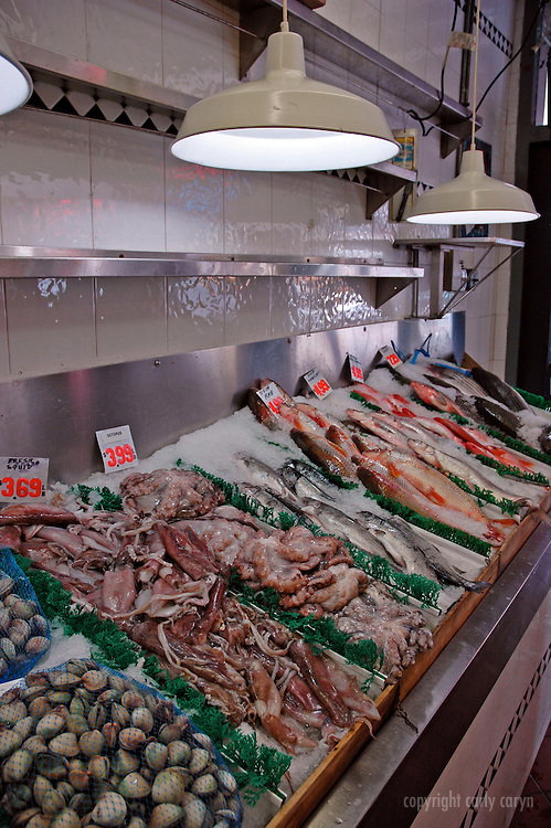 Fresh fish market display, vertical