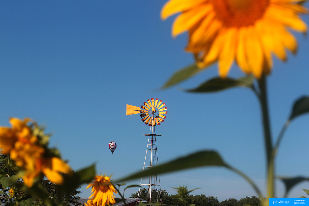 Hot Air balloons pass sunflowers and a windmill in rural Michigan near Battle Creek during the World Hot Air Ballooning Championships. Battle Creek, Michigan, USA. 18th August 2012. Photo Tim Clayton
