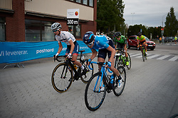 Cecilie Uttrup Ludwig (DEN) and Alba Teruel (ESP) approach the final lap at Postnord Vårgårda West Sweden Road Race 2018, a 141 km road race in Vårgårda, Sweden on August 13, 2018. Photo by Sean Robinson/velofocus.com
