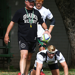 DURBAN, SOUTH AFRICA, 25 January 2016 -  Gary Gold (Sharks Director of Rugby)  with Phillip van der Walt and Jean-Luc du Preez during The Cell C Sharks Pre Season training for the 2016 Super Rugby Season at Growthpoint Kings Park in Durban, South Africa. (Photo by Steve Haag)<br /> images for social media must have consent from Steve Haag