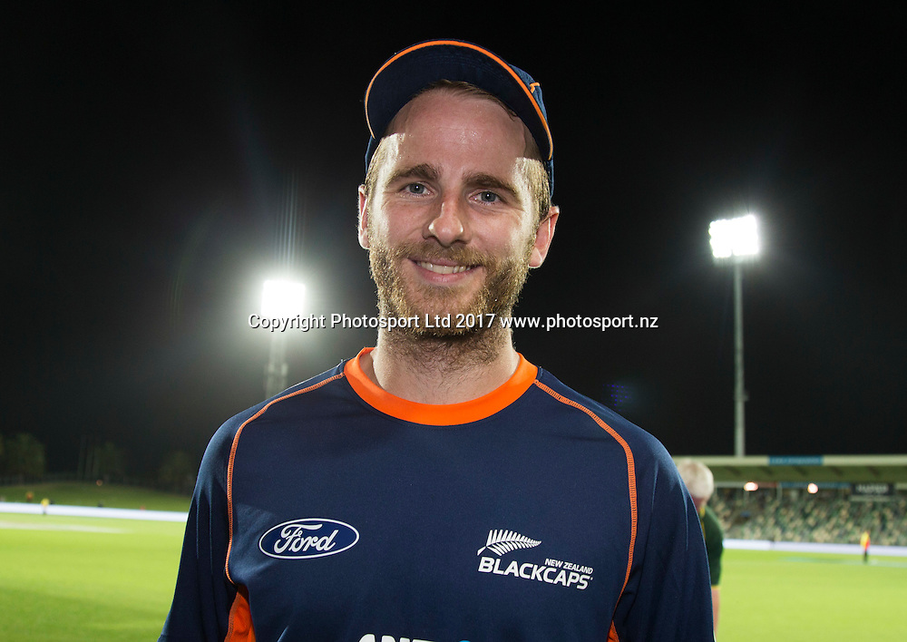 New Zealand's captain Kane Williamson named mon of the match.  New Zealand Blackcaps v Bangladesh, International Cricket, 1st T20, McLean Park, Napier, New Zealand. Tuesday, 03 January, 2017. Copyright photo: John Cowpland / www.photosport.nz