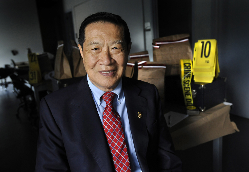 Dr. Henry Lee poses for a photograph at the Henry C. Lee Institute of Forensic Science, on the campus of the University of New Haven in New Haven, Conn. (AP Photo/Jessica Hill)