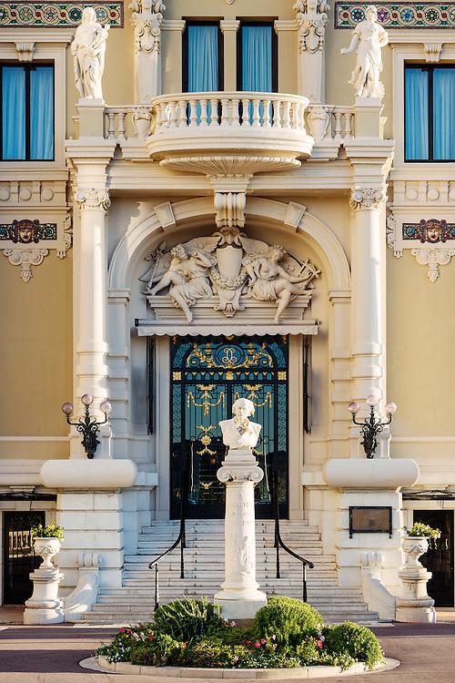 Exterior of the Salle Garnier with bust of Massenet, Opéra de Monte-Carlo, Monaco