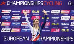 Great Britain's Laura Kenny on the podium after winning gold in the women's elimination race during day four of the 2018 European Championships at the Sir Chris Hoy Velodrome, Glasgow.